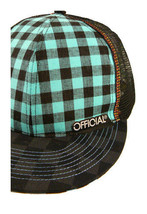 Official Black Turquoise Checker Mesh Snapback Baseball Hat Cap NWT