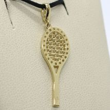 18K YELLOW GOLD TENNIS RACKET ZIRCONIA PENDANT CHARM, 25 mm 1 inches, ITALY MADE image 3