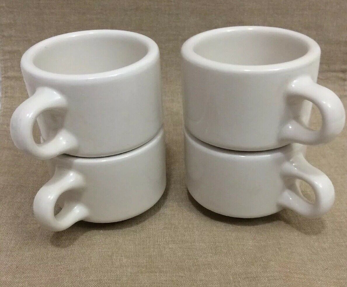 Vintage HOMER LAUGHLIN Best China Restaurant Ware White Coffee Mugs /Cups (4)USA