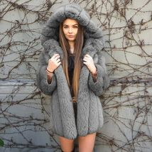 Women Luxurious Hooded Fur Coat  Fuzzy Jacket Warm Thick Faux Fur image 2
