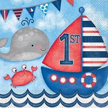 Unique Party Nautical Boys 1st Birthday Paper Napkins, Pack Of 16 - $5.29