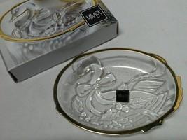 NIB Mikasa Golden Goose  Sweet Dish  6 Inch Holly Berries Ribbon Glass Japan - $16.99