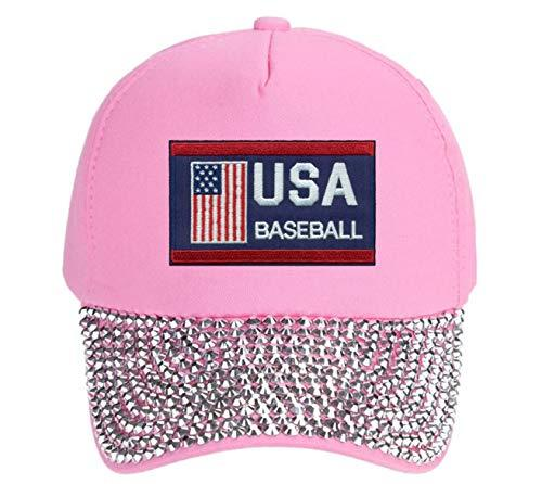 USA Baseball Hat - Adjustable Women's Cap (Pink Studded)