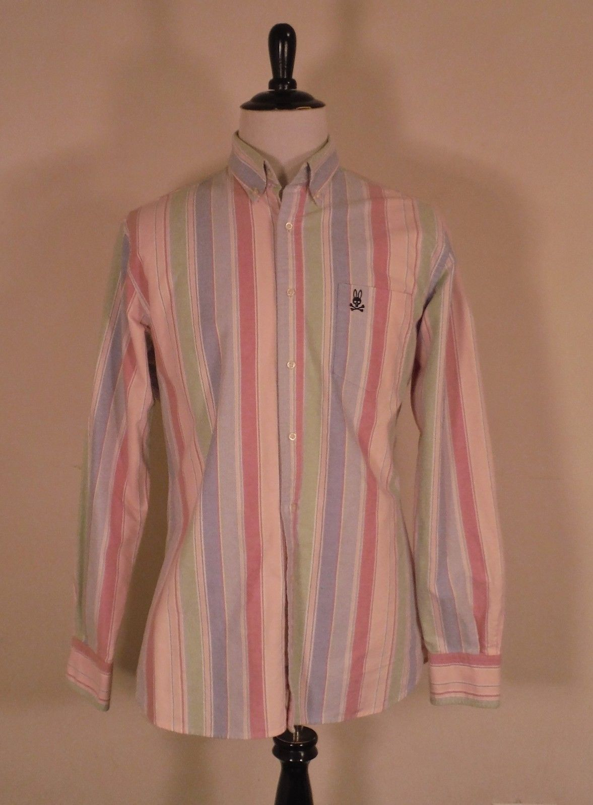 bd00ffe5 S l1600. S l1600. Previous. Men's Psycho Bunny Pinks blues greens Striped  Button Shirt Size Large ...