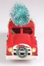 "Wondershop 8"" Christmas Tree Decoration Red Metal Station Wagon Woody Car NEW image 3"