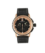 Morphic M61 Series Chronograph Leather-Band Watch w/Date - Rose Gold/Black - $490.00