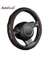 AutoYouth® Stereos Breathable Black Cowhide Car Steering Wheel Cover Splice - $26.23