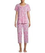 Secret Treasures Women's Short Sleeve V Neck Capri Pajama Set LARGE 12-1... - $29.69