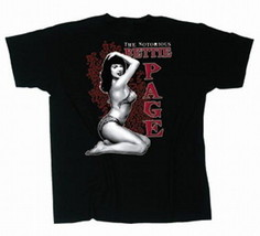 The Notorious Bettie Page Photo Kneeling Black T-Shirt Size X-Large, NEW... - $14.50