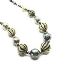 Necklace Antica Murrina Venezia with Murano Glass Gray Military Green COA3A32 image 5