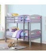 Gray Finish Wooden Twin Over Twin Bunk Beds Kids Convertible Bedroom Fur... - $264.23