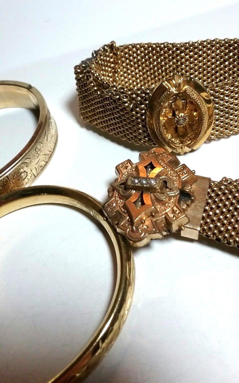 ANTIQUE GOLD FILLED VICTORIAN BRACELET JEWELRY LOT WEAR REPAIR SLIDES BANGLES
