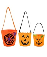 3 Halloween -Trick Or Treat- Candy Tote Bags Pumpkin Face Jack O Lantern - $8.73