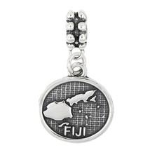 Sterling Silver Dangle Map Of Fiji Bead Charm - $20.19