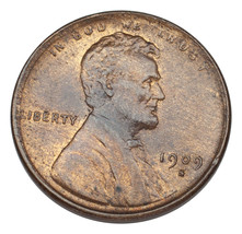 1909-S 1C Lincoln Cent Choice BU Condition, Red + Brown Color 50% Origin... - $296.99