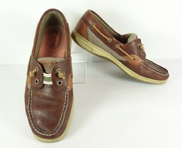 Sperry Top Sider Rainbowfish Boat Shoes Leather Size 9 Laceless Tweed Ta... - $26.72