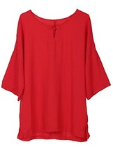 Minibee Women's Elbow Sleeve Linen Tunic Tops Solid Color Retro Blouse Red L - $28.33