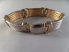 Vintage Gold and Silver Tone Belt Bracelet R5 - $6.92