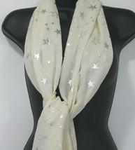 """Womens Neck Head Scarf Wrap Shawl Stars Cream Silver 24"""" x 66"""" - $11.66"""