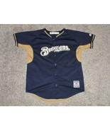 Milwaukee Brewers Baseball Jersey by Majestic, Youth Large - $14.01