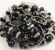 """38"""" VINTAGE Jewelry BEZEL SET SMOKY GLASS CRYSTAL HAND WIRED BEAD NECKLACE  - $55.00"""