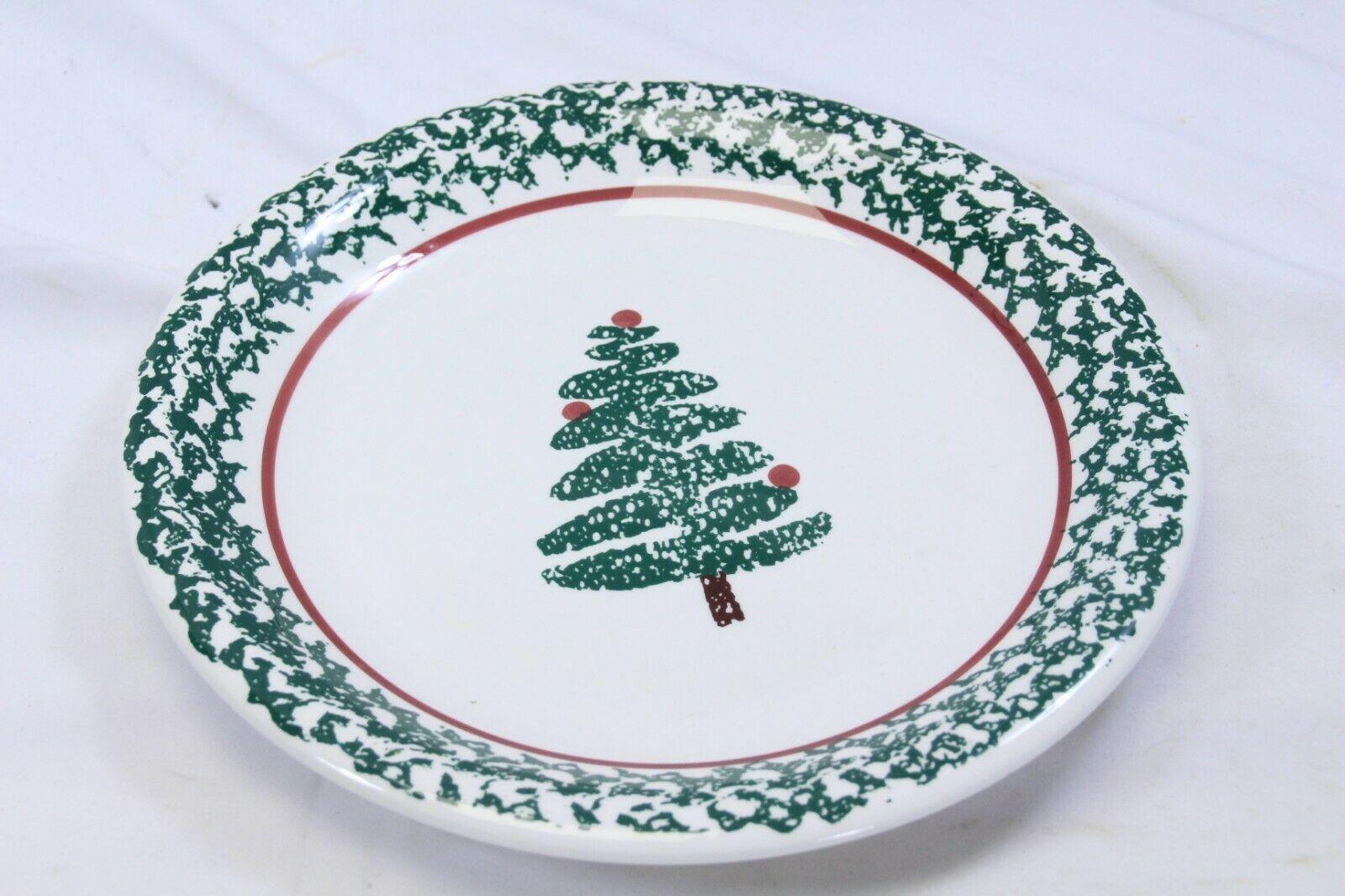 "Furio Xmas Tree Dinner Plates Sponge 10.25"" Set of 8 Made in Italy"