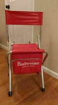 Budweiser Chair Vintage Nice Aluminum Fishing Beer Outdoor Camping Folding - $110.45