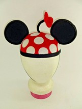 Disney Parks Mickey / Minnie Mouse Polka Dot Red Flower Ear Hat w/ Chin Strap - $23.56