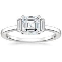 White Gold Asscher Cut Moissanite Engagement Ring |Baguette Cut Side St... - $310.00