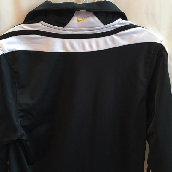 Nike Black white yellow zip athletic sport jacket M Medium NEW