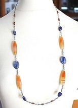 Silver 925 Necklace Agate Orange, Kyanite, Blue, Amber, Long 80 cm, Rolo Chain image 1