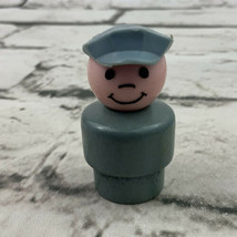 Vintage Fisher Price Little People WOOD Conductor Gray Hat - $11.88