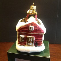 Department 56 Red Schoolhouse Blown Glass Ornament Made In Poland NIB 17715 - $12.99