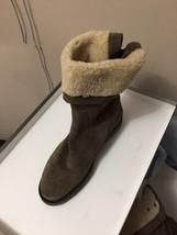 AQUATALIA Perdi Bootie Weatherproof Cuff Ankle Taupe Leather Suede Boot 8 - $140.15