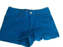 Oxygen Activewear Size Small Blue Shortie Short Shorts Faux Front Pockets - $16.79