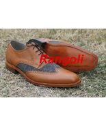 Handmade Men's Two tone formal shoes, Men wing tip leather and tweed shoes - $159.99