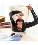 3D Monkey Handmade Ceramic Creative Mug Cup Cute Animals Shaped 300-400ml  - $24.49