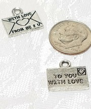"LETTER ""TO YOU WITH LOVE""  FINE PEWTER PENDANT CHARM - 14.5x13x1.5mm image 2"
