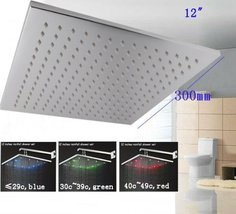 Cascada 12 Inch Wall Mount Square Rainfall LED Shower Head, Stainless Steel with - $197.95
