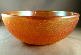 Marigold Carnival Glass Bowl By Imperial Glass Crackle Pattern - $18.00