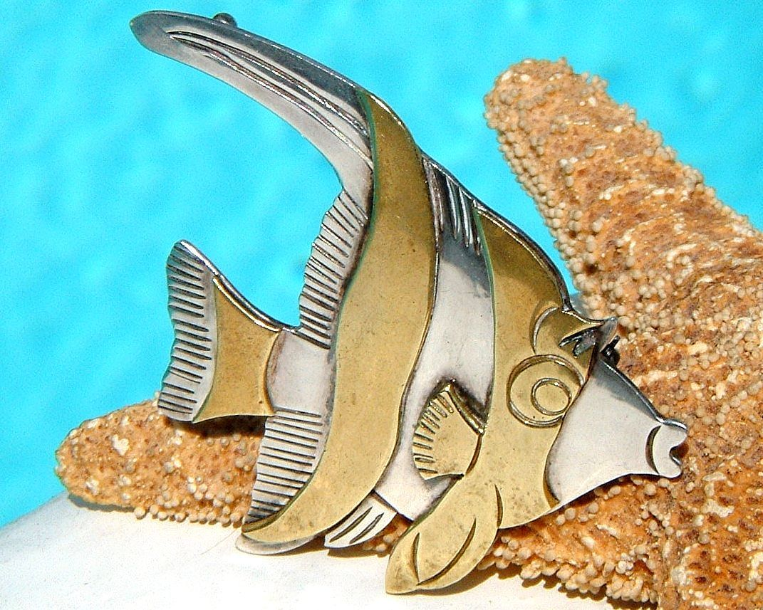 Primary image for Vintage Taxco Mexico Angel Fish Brooch Pin Sterling Silver Brass