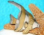 Vintage Taxco Mexico Angel Fish Brooch Pin Sterling Silver Brass