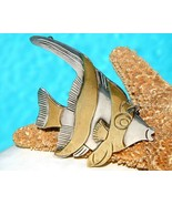 Vintage Taxco Mexico Angel Fish Brooch Pin Sterling Silver Brass  - $54.95