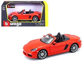 Porsche 718 Boxster Orange 1/24 Diecast Model Car by Bburago - $35.89