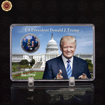 WR President of US Donald Trump Ban Refugees Silver Coin with Photo Fram... - $9.50