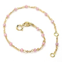 18K YELLOW GOLD BRACELET, PINK FACETED CUBIC ZIRCONIA, ROLO CHAIN, 6.9 INCHES image 1