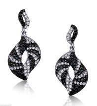 Black And White Cubic Zirconia Stones With Pave Set Earrings Sterling Silver 925 - $61.74