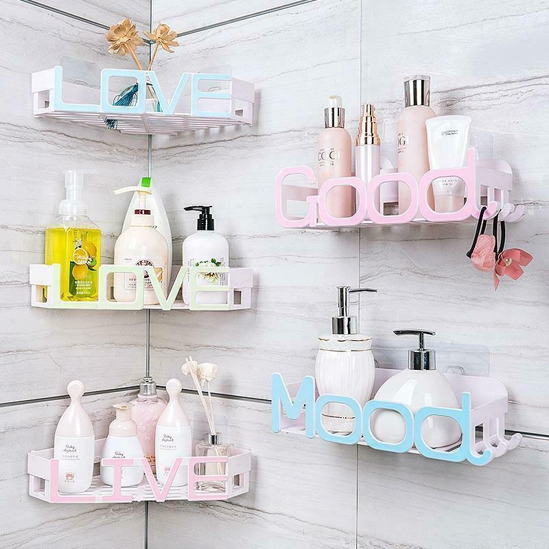 Corner Storage Wall Mounted Plastic Suction Bathroom Shelf Storage Basket Holder image 7