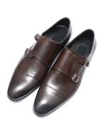 Handmade Men double buckle formal shoes Men brown dress shoes, Men leath... - $169.99