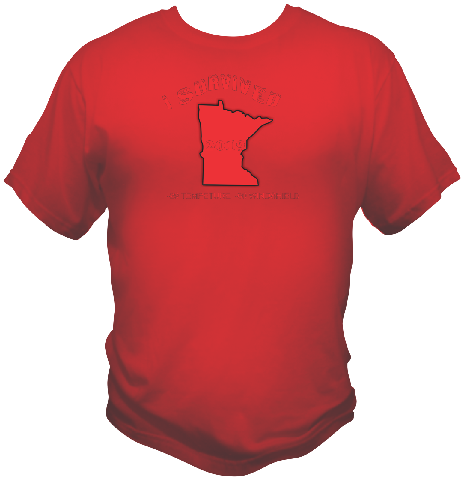 Minnesota Winter Survived Style Graphic T Shirt Black Red White L XL 2XL